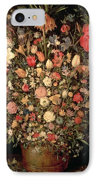 Large Bouquet Of Flowers In A Wooden Tub, 1606-07, Oil On Canvas IPhone Case by Jan the Elder Brueghel