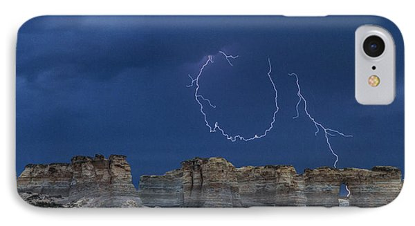 IPhone Case featuring the photograph Lariat Lightning At Monument Rocks by Rob Graham