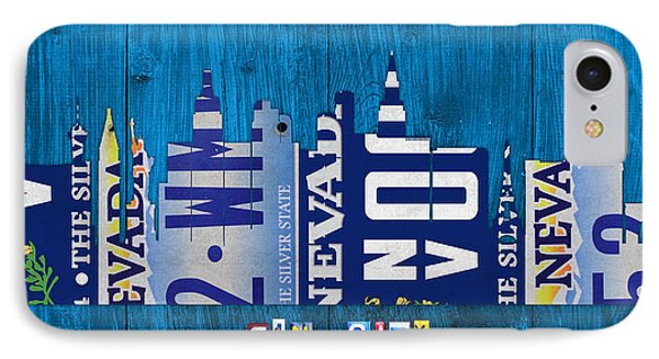 Las Vegas Nevada City Skyline License Plate Art On Wood IPhone Case
