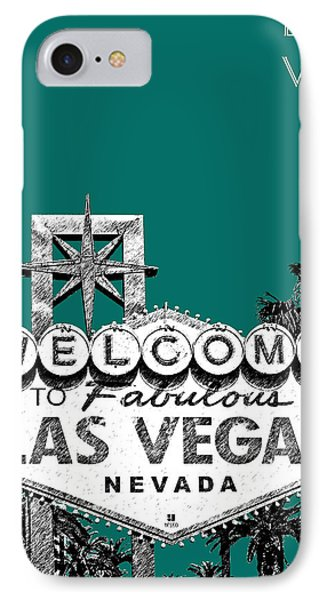 Las Vegas Welcome To Las Vegas - Sea Green Phone Case by DB Artist