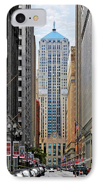 Lasalle Street Chicago - Wall Street Of The Midwest Phone Case by Christine Till