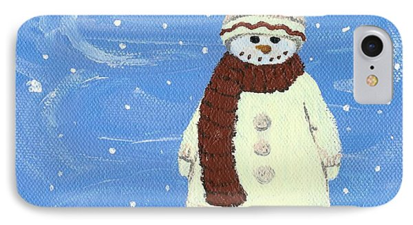 IPhone Case featuring the painting Last Decoration Snowman by Lynn Babineau