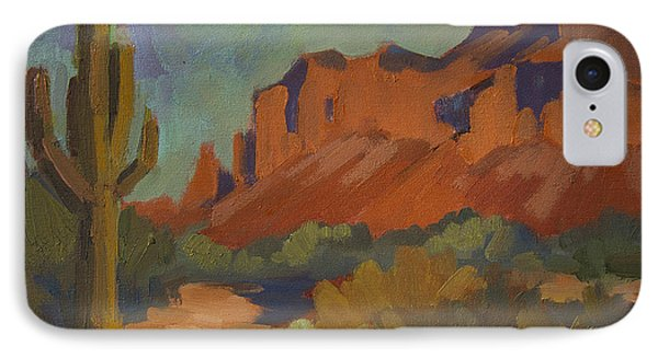 Late Afternoon Light At Superstition Mountain IPhone Case by Diane McClary