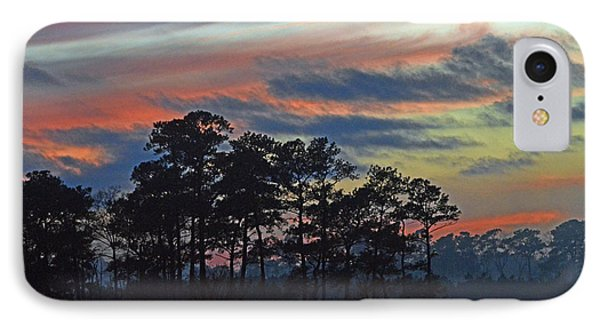 IPhone Case featuring the photograph Late Sunset Trees In The Mist by Bill Swartwout