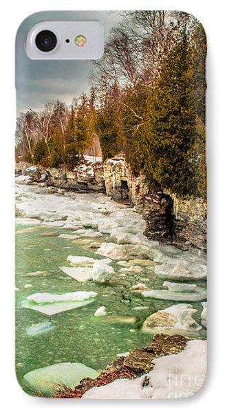 Late Winter At Cave Point IPhone Case by Mark David Zahn