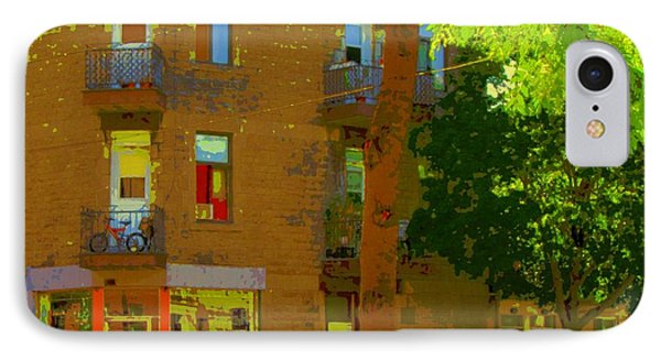 L'atelier Boutique Rue Clark And Fairmount Art Of Montreal Street Scene In Summer By Carole Spandau  Phone Case by Carole Spandau