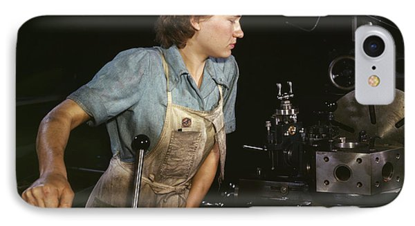 Lathe Operator Machining Parts IPhone Case by Stocktrek Images