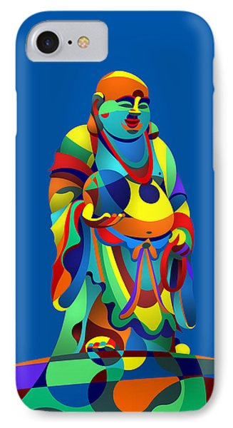 IPhone Case featuring the digital art Laughing Buddha Blue by Randall Henrie