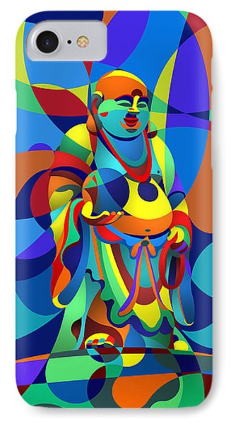IPhone Case featuring the digital art Laughing Buddha by Randall Henrie