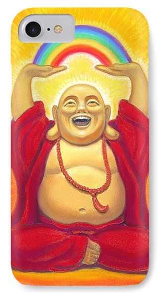 Laughing Rainbow Buddha IPhone Case by Sue Halstenberg
