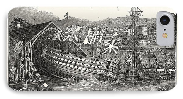 Launch Of His Majestys Ship Waterloo, At Chatham,  Uk IPhone Case by English School
