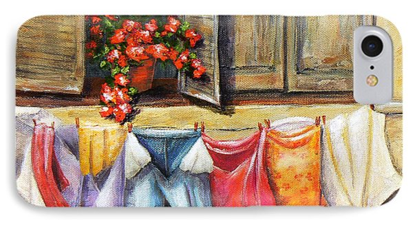 IPhone Case featuring the painting Laundry Day In The Villa by Terry Taylor
