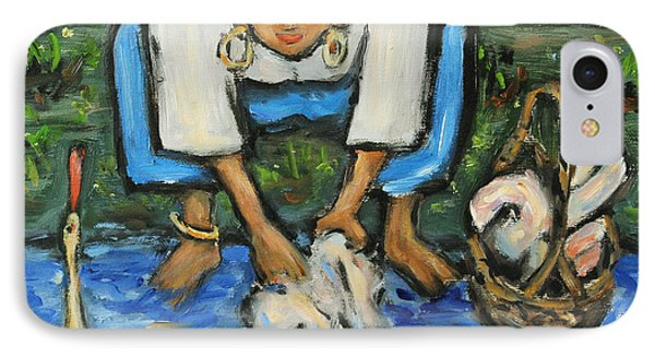 IPhone Case featuring the painting Laundry Girl by Xueling Zou