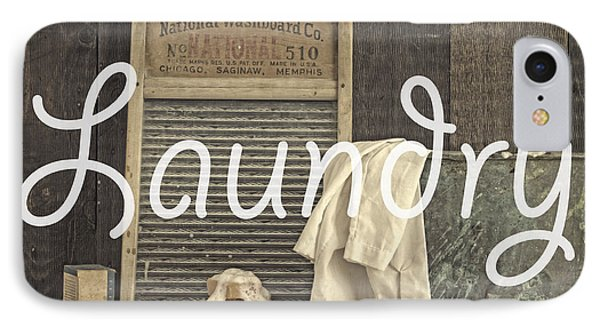Laundry Room Sign IPhone Case by Edward Fielding