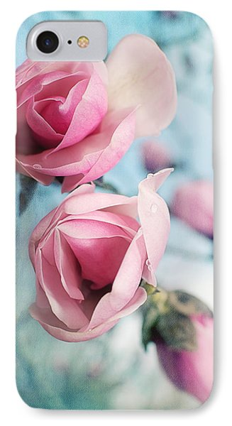 IPhone Case featuring the photograph Laura Ashley Inspired Springtime Magnolias On Blue Sky by Lisa Knechtel