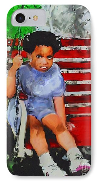 IPhone Case featuring the painting Lauren On The Swing by Vannetta Ferguson