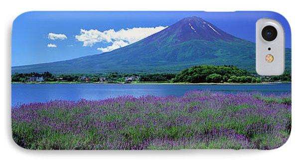 Lavender And Lake Kawaguchi Yamanashi IPhone Case by Panoramic Images