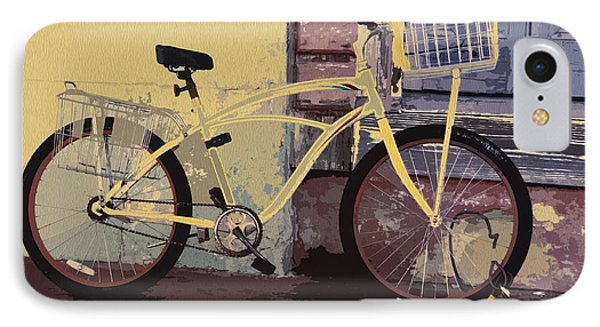 Lavender Door And Yellow Bike IPhone Case by Ecinja Art Works