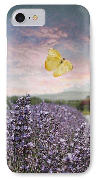 Lavender Field Pink And Blue Sunset And Yellow Butterfly IPhone Case by Brooke T Ryan