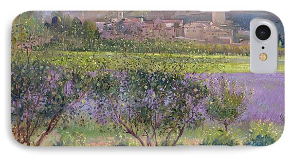 Lavender Seen Through Quince Trees Phone Case by Timothy  Easton