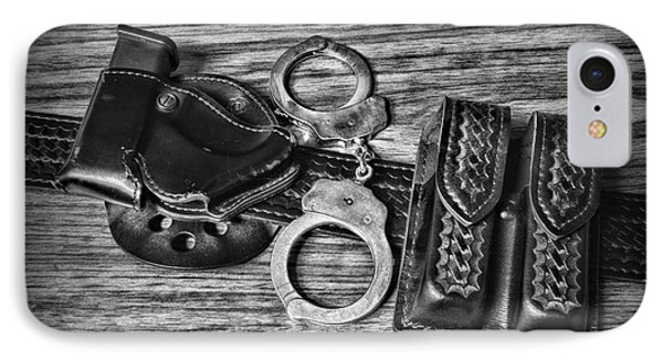 Law Enforcement - Police - Duty Belt In Black And White IPhone Case by Paul Ward