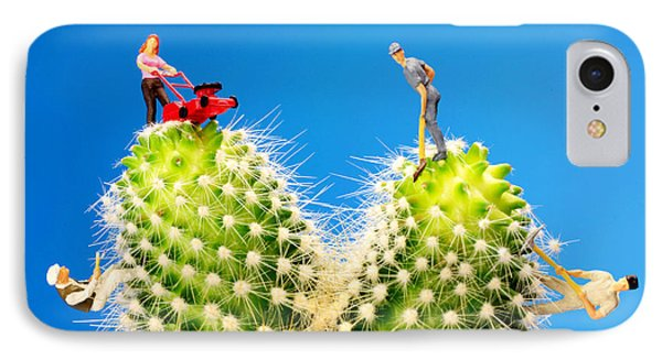Lawn Mowing On Cactus II Phone Case by Paul Ge
