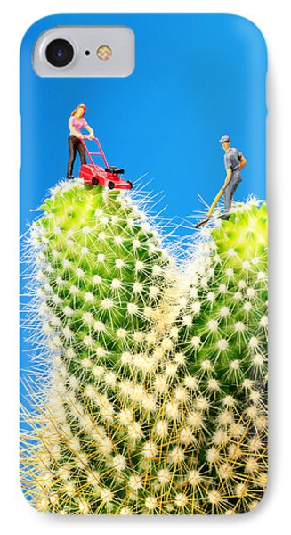 Lawn Mowing On Cactus Phone Case by Paul Ge