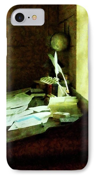 IPhone Case featuring the photograph Lawyer - Desk With Quills And Papers by Susan Savad