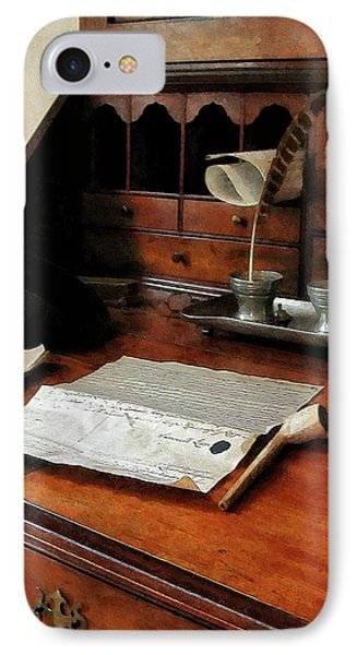 IPhone Case featuring the photograph Lawyer - Quill Papers And Pipe by Susan Savad