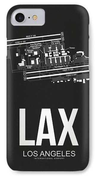 Lax Los Angeles Airport Poster 3 IPhone 7 Case by Naxart Studio