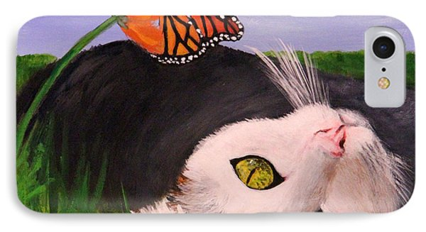 IPhone Case featuring the painting Lazing In The Grass by Janet Greer Sammons