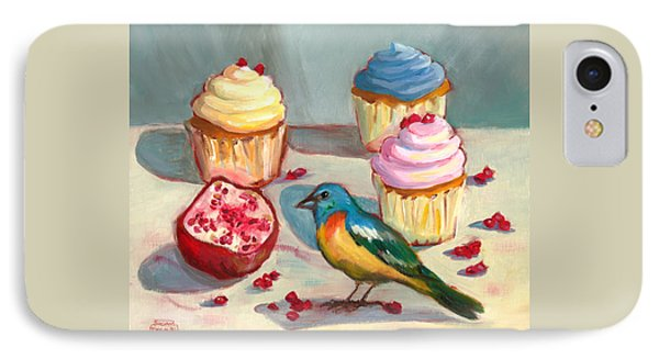 IPhone Case featuring the painting Lazuli Bunting And Pomegranate Cupcakes by Susan Thomas