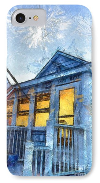 Lazy Daze Beach Cottage Pencil Sketch IPhone Case by Edward Fielding