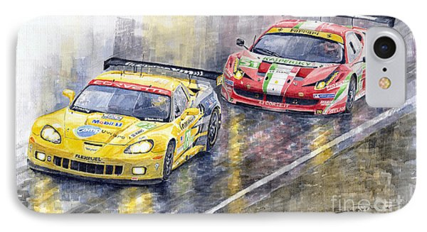2011 Le Mans Gte Pro Chevrolette Corvette C6r Vs Ferrari 458 Italia IPhone Case by Yuriy  Shevchuk