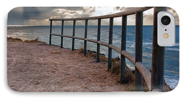 Rail By The Seaside IPhone Case by Mike Santis