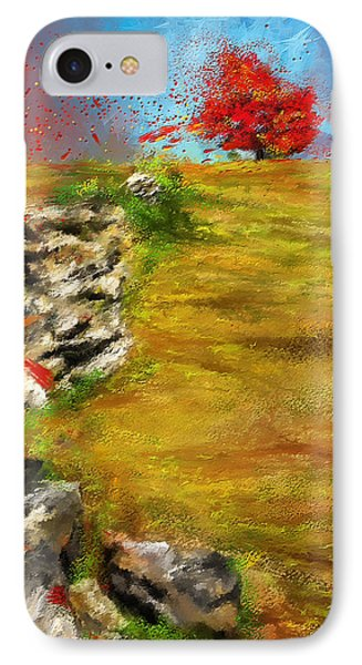 Leading Red - Autumn Impressionist IPhone Case by Lourry Legarde