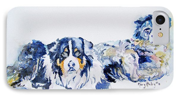 IPhone Case featuring the painting Leadville Street Dogs by Mary Haley-Rocks
