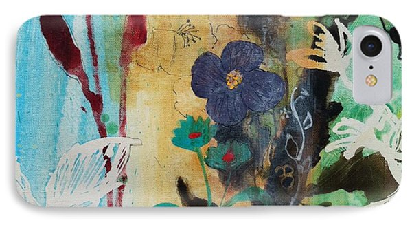 IPhone Case featuring the painting Leaf Flower Berry by Robin Maria Pedrero