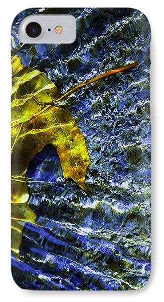 IPhone Case featuring the photograph Leaf In Creek - Blue Abstract by Darryl Dalton