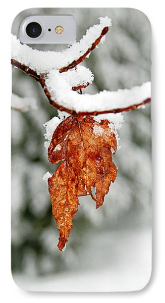 IPhone Case featuring the photograph Leaf In Winter by Barbara West