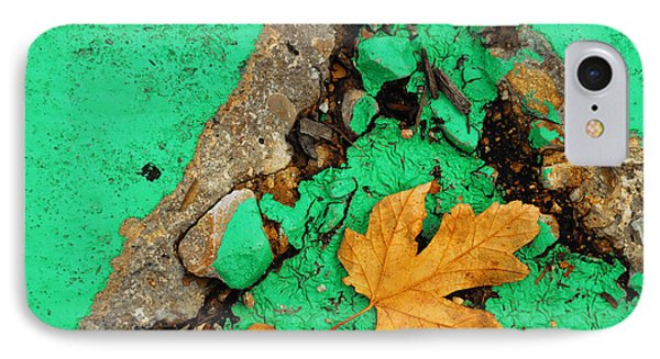 Leaf On Green Cement Phone Case by Amy Cicconi