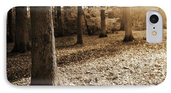 Leafy Autumn Woodland In Sepia Phone Case by Natalie Kinnear