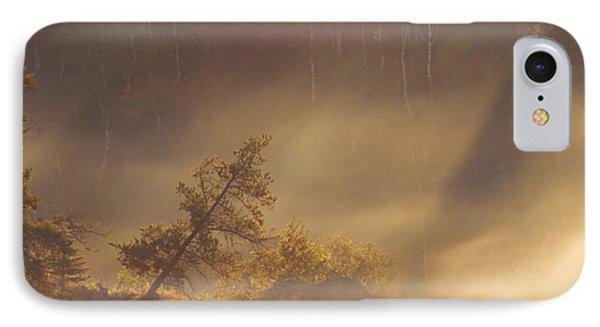 Leaning Tree In Swirling Fog Phone Case by Larry Ricker