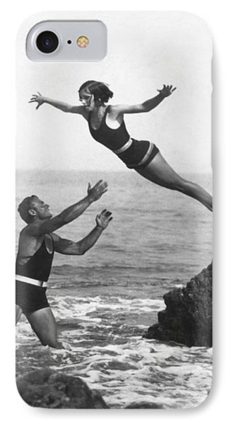 Leap Into Life Guard's Arms IPhone Case by Underwood Archives