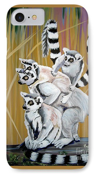 IPhone Case featuring the painting Leapin Lemurs by Phyllis Kaltenbach