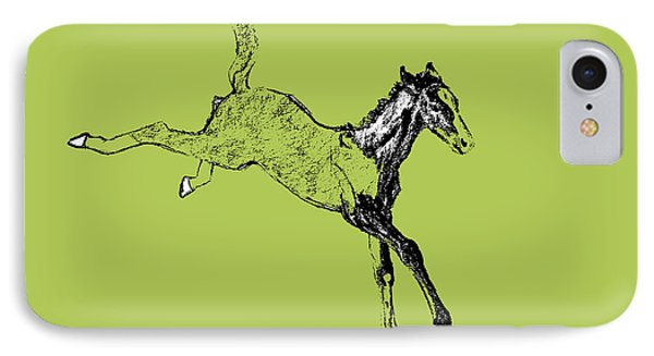 Horse iPhone 7 Case - Leaping Foal Greens by JAMART Photography