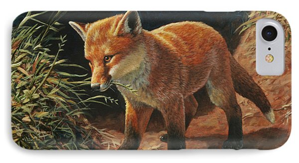 Red Fox Pup - Learning IPhone Case by Crista Forest