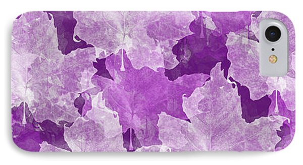 Leaves In Radiant Orchid Panorama Phone Case by Andee Design
