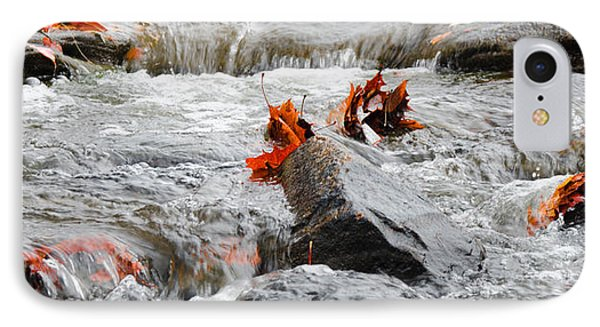 Leaves On Falling Water IPhone Case by Mark Bowmer