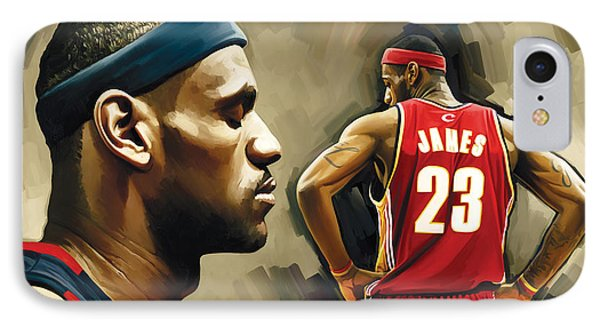 Lebron James Artwork 1 IPhone Case by Sheraz A